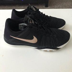 Nike Black and Rose Gold Free Run